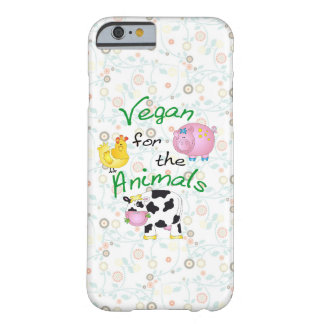 """Vegan for the Animals"" with Cute Pig, Cow & Hen Barely There iPhone 6 Case"