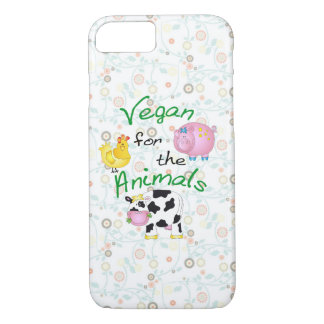 """Vegan for the Animals"" with Cute Pig, Cow & Hen iPhone 7 Case"