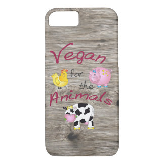"""Vegan for the Animals"" with Cute Pig, Cow & Hen iPhone 8/7 Case"