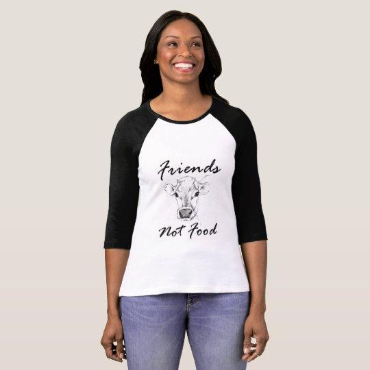 Vegan Friends Not Food Baseball Womens T Shirt