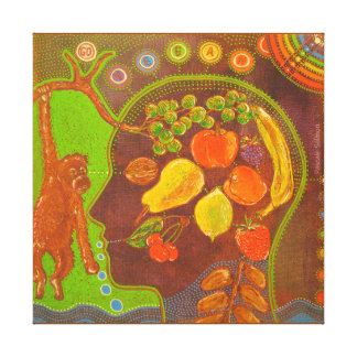 Vegan fruits monkey stretched canvas prints