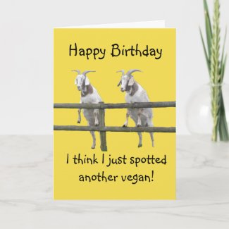 Vegan Goats Birthday Card