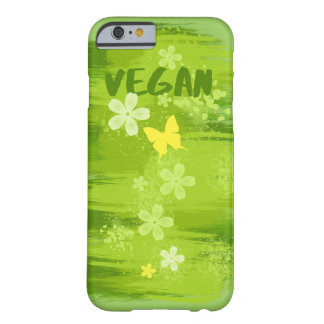VEGAN Green Painting with Flowers and Butterfly Barely There iPhone 6 Case