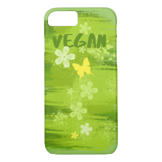 VEGAN Green Painting with Flowers and Butterfly iPhone 7 Case