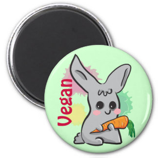 Vegan grey cute bunny with carrot magnet