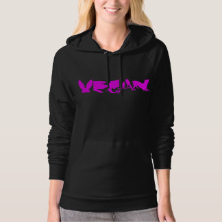 VEGAN HOTPNK ON DARK HOODIE WOMAN'S