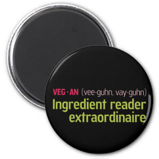 Vegan Ingredient Reader 6 Cm Round Magnet