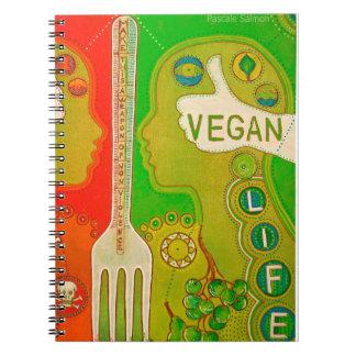 Vegan life fork spiral notebooks