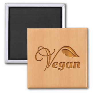 Vegan logo carved in wood effect magnet