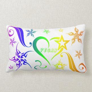 Vegan Logo Hearts Stars Lumbar Cushion