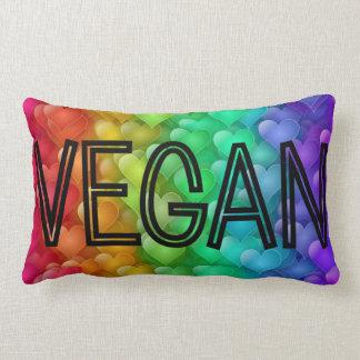 Vegan Logo Rainbow Hearts Lumbar Cushion