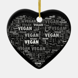Vegan love heart design christmas ornament