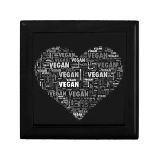 Vegan love heart design small square gift box