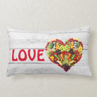 Vegan Love Vegetable Photo Collage Heart Lumbar Cushion