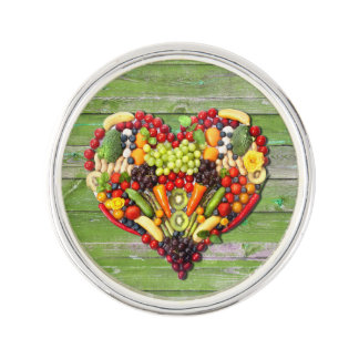 VEGAN LOVE -  your Heart Green Wood Wall Lapel Pin