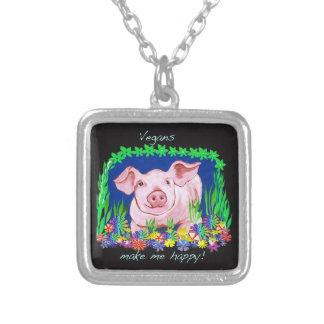 Vegan make me happy! Pig Necklace
