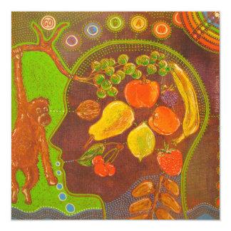 Vegan monkey fruits card
