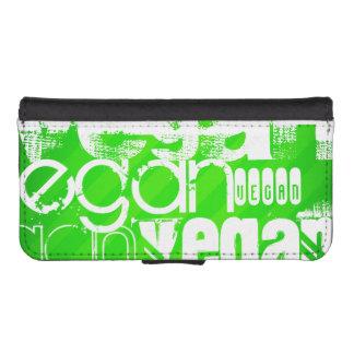 Vegan; Neon Green Stripes iPhone SE/5/5s Wallet Case