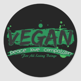 Vegan Peace Love Compassion Round Sticker