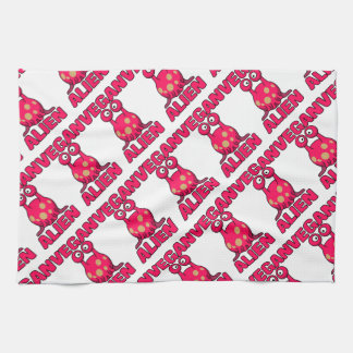 Vegan Pink Alien Tea Towel