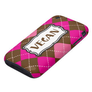 Vegan Pride Pink Brown Argyle iPhone 3 Tough Cases