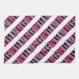 Vegan Purple Pink Blocks Tea Towel
