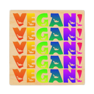 Vegan Rainbow Fish Lettering Wood Coaster