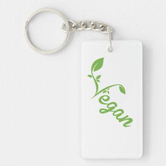 Vegan Single-Sided Rectangular Acrylic Key Ring