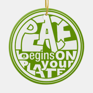 Vegan Slogan Peace Begins On Your Plate Christmas Ornament