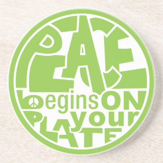 Vegan Slogan Peace Begins On Your Plate Coaster