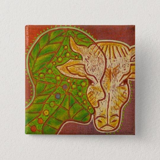 Vegan symbiosis animal human swipes in vegetable 15 cm square badge