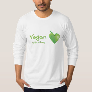 Vegan with all my heart (green apple heart fitted) t-shirts