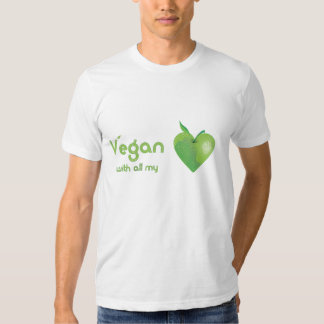Vegan with all my heart (green apple heart fitted) tee shirt