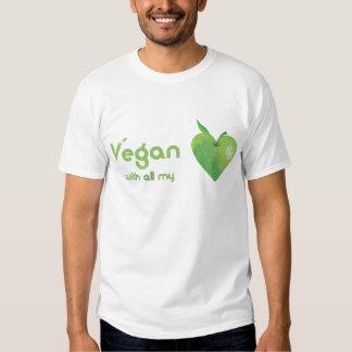 Vegan with all my heart (green apple heart) tee shirts