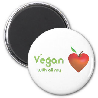 Vegan with all my heart (red apple heart) 6 cm round magnet