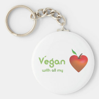 Vegan with all my heart (red apple heart) basic round button key ring