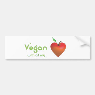Vegan with all my heart (red apple heart) car bumper sticker