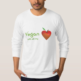 Vegan with all my heart (red apple heart fitted) T-Shirt