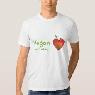 Vegan with all my heart (red apple heart - fitted) tshirt