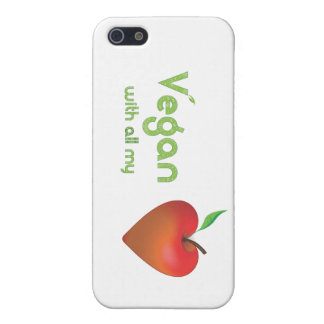 Vegan with all my heart (red apple heart) iPhone 5 cases