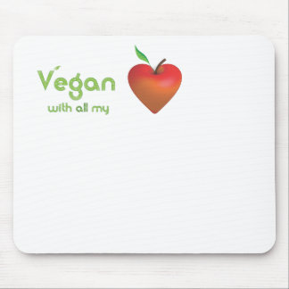 Vegan with all my heart (red apple heart) mouse pad