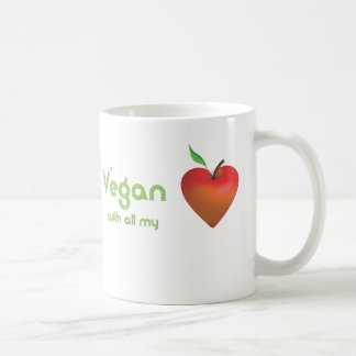 Vegan with all my heart (red apple heart) mugs