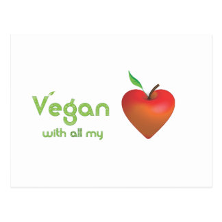 Vegan with all my heart (red apple heart) postcard