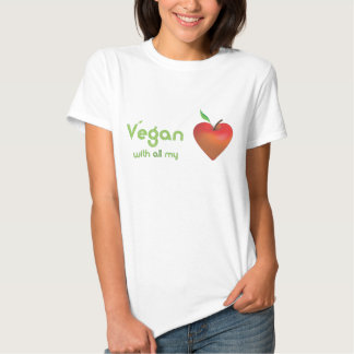 Vegan with all my heart (red apple heart) t shirts