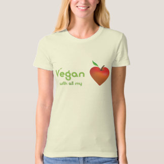 Vegan with all my heart (red apple heart) tee shirts