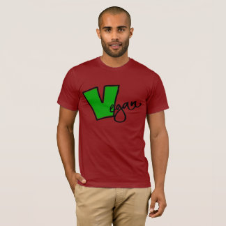 Vegan With Big Green V and Black Outline T-Shirt