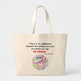 """""""Vegan"""" Word-Cloud Mosaic and Quote Large Tote Bag"""