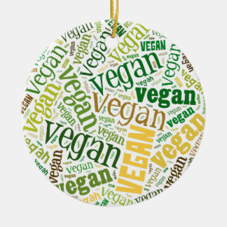 """Vegan"" Word-Cloud Mosaic Christmas Ornament"