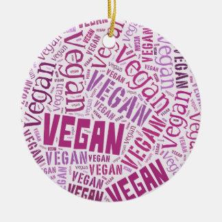 """Vegan"" Word-Cloud Mosaic Christmas Ornament"