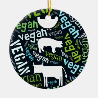 """Vegan"" Word-Cloud Mosaic with a cow, pig, hen. Christmas Ornament"